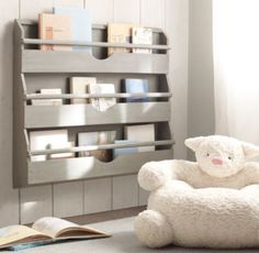 Cute lamb chair, but also really love the bookshelves  Textured Plush Lamb Chair   Nursery Accessories   Restoration Hardware Baby & Child