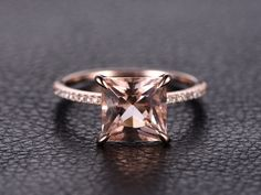Princess Cut Morganite Ring,Morganite Engagement Ring,Morganite Solitaire Ring,Morganite Pave Diamond Wedding Ring Solid 14k Rose Gold by kilarjewelry on Etsy https://www.etsy.com/listing/265748556/princess-cut-morganite-ringmorganite