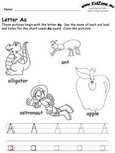 learning letters worksheet www.kidzone.ws Learning