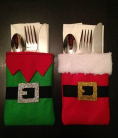 Christmas cutlery holder - Santa and elf Christmas Sewing, Felt Christmas, Christmas Stockings, Christmas Holidays, Christmas Quilting, Nordic Christmas, Modern Christmas, Christmas Table Settings, Christmas Table Decorations