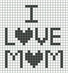 ❤ I Love Mom — Free Chart. This chart gives y… ❤ I Love Mom — Free Chart. This chart gives you a pattern you can use for making all kinds of interesting gifts for her. Bobble Crochet, Crochet Chart, Crochet Squares, Filet Crochet, Crochet Cross, Crochet Diagram, Pixel Art Coeur, Happy Mother Day Quotes, Happy Mothers