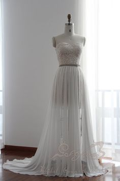 Gorgeous Champagne Lace Wedding Gown with Removable Beaded Belt Chiffon Skirt, Ideal for Beach or Garden wedding