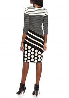 Gabby Skye Mixed Print Sweater Dress
