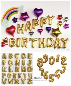 "1 Pcs Gold Alphabet Letters Numbers Foil Balloons Air Balloon 16"" Inflatable Balls Christmas Wedding Birthday Party Decoration"
