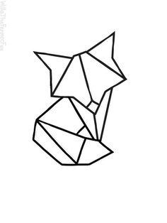 Geometric Fox by WillaTheFennecFox Geometric Tatto, Geometric Fox, Geometric Drawing, Geometric Shapes, Origami Tattoo, Origami Fox, Origami Animals, Origami Design, Fuchs Tattoo