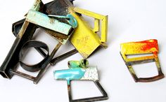 Esme Parsons, Rings part of the Urbanisation series, silver, copper, enamel.