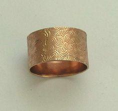14K Rose Gold Band textured rose gold band unisex by artisanimpact