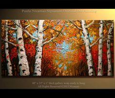 Abedul extracto pintura bosque en otoño 48 Original aceite