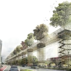 vittorio maschietto + MDU link vauxhall with elevated green bridge is part of Bridges architecture - influenced by a picture of vitruvius, vittorio maschietto and MDU architetti have tackled the complex challenge of creating vauxhall 'missing link' Bridges Architecture, Architecture Visualization, Green Architecture, Futuristic Architecture, Concept Architecture, Landscape Architecture, Architecture Design, Urban Landscape, Landscape Design