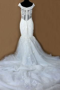 Haute Couture Mermaid Wedding Dress With All Over Hand-Beaded Detail ( Style Sequoria #PB197) - Dream Dresses by P.M.N  - 5