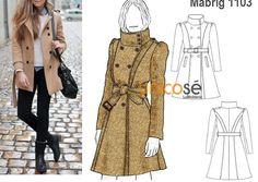 Para los días de frío no hay como un buen abrigo que combine con todo. Encuentra el molde en www.unicose.net / Código 10011103