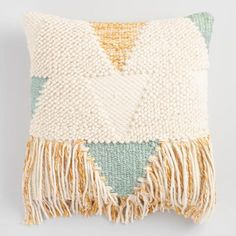 This Exquisite Throw Pillow Exudes Boho Rug Inspired Style With Textured Yarn Weaving In A Soft Palette Dashes Of Gold And Dramatic Fringe Detail Along