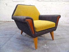 Vintage Scandinavian Yellow & Dark Grey Wool Armchair Teak Retro Chair 1960s