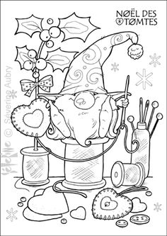 Embroidery idea, Santa Gnome being Crafty... tomte-decos