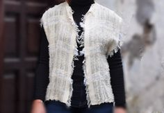 Women's Cotton Vest  Handwoven Cotton Vest  White by ForGoodPeople