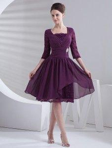 Grape Square Neck Half Sleeves Knee Length Chiffon Prom Dresses