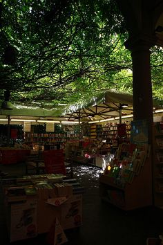 Book shop under trees in italy  via flickr