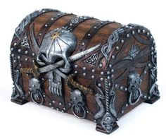 Jewelry Box Chest Crossed Blades Pirate Skull Bucaneer Statue Figurine Treasure