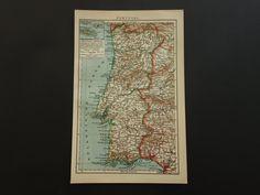 "Antique map of Portugal - Lovely 1910 original country print - Lisbon Algarve Porto area - 6x10"" (16x25c) by DecorativePrints on Etsy"