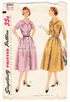 Vintage 1952 Simplicity 3944 Sewing Pattern Misses' One-Piece