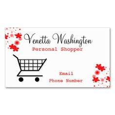 Personal Shopper Business Card. I love this design! It is available for customization or ready to buy as is. All you need is to add your business info to this template then place the order. It will ship within 24 hours. Just click the image to make your own!