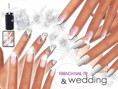 French Manicure and Wedding Nails Pack by Pinkzombiecupcakes at TSR via Sims 4 Updates
