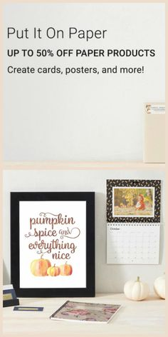 Don't Miss Out! 50% Off all Paper Products on Zazzle. Create your ideal space. #zazzle #paper #products #paperie #custom #wedding #savethedate #pumpkin #spice #fall #office #business #cards #calenders