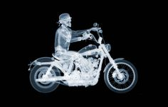 Harley Davidson 72 Rider, Nick Veasey, 67 × 47 in, × cm. Harley Davidson, Bmw Isetta, Beneath The Surface, English Artists, First They Came, Skull Art, Les Oeuvres, Gallery, Skulls