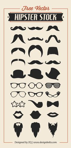 Free Vector Hipster Stock by Zee Que, via Behance
