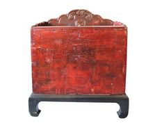 Antique Qiang Red and Black Trunk on Stand @flea_pop