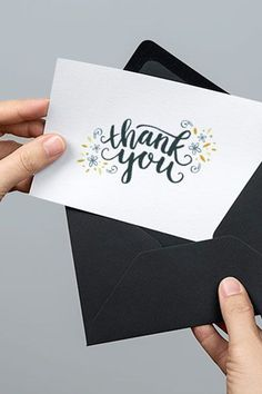Download this Free Printable Thank You Card from Every Tuesday with dark blue calligraphy text, and gold and blue floral flourishes