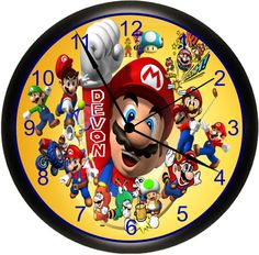 Personalized Super Mario Custom Kid's Bedroom Wall Clock For An Exciting Gift For Any Occasion. By Simply Southern Gift.