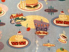 2 Fat Quarters of 1950s Diner Fabric Sewing by NeutralNellies, $7.98