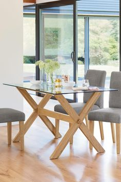 Buy Oak And Glass Rectangle Dining Table from the Next UK online shop