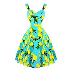 Hearts Roses London Blue Lemon 1950s Dress Dresses ❤ liked on Polyvore featuring dresses, goth dresses, vintage prom dresses, gothic prom dresses, goth prom dresses and vintage cocktail dresses