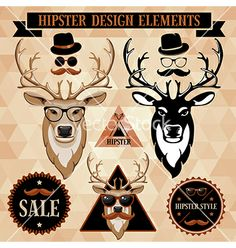 Hipster elements vector - by Pazhyna on VectorStock®