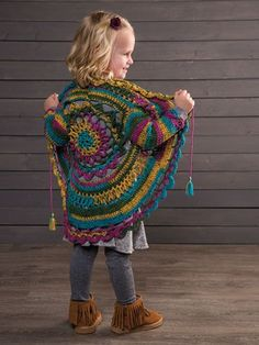 This pretty jacket will be a favorite for any little girl. Design is made using 2 balls of Universal Yarn Uptown DK Colors light-weight yarn and size crochet hook. Instructions written for child's size: 4 yrs. Crochet Circle Vest, Crochet Circles, Crochet Cardigan Pattern, Crochet Jacket, Crochet Mandala, Crochet Patterns, Crochet For Kids, Crochet Baby, Free Crochet