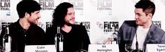 Colin Morgan, Kit Harington, and Taron Egerton attend the Testament of Youth Press Conference at the BFI London Film Festival - October 14, 2014. [Gif 3 of 5]