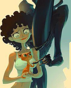 Ellen Ripley, o gatinho e um Alien de Otto Schmidt