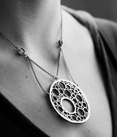 Image of statement necklace - suspended moons pendant necklace in sterling silver