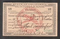 State of California Hunting License Citizen, 1931 Red Pheasant In Circle Buffalo, Hunting License, Pheasant, Citizen, Stamp, California, Red, Stamps, Common Pheasant
