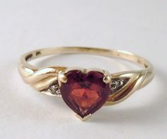 100% Genuine Vintage 9ct. Yellow Gold and Heart Shaped  Garnet & Diamonds Ring.