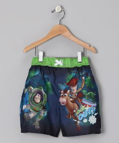 Take a look at this Green Toy Story Swim Trunks - Toddler by Penguin Kids Wear on #zulily today!