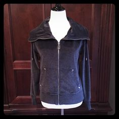 Michael Kors Jacket Dark gray with 2 front pockets, zip front with oversized collar. 76% cotton, 24% polyester. New without tags Michael Kors Jackets & Coats