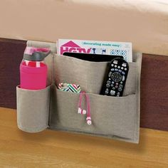 mDesign Fabric Bedside Caddy Storage Organizer, 4 Pockets, Light Gray, Pack of 2 Folder Organization, Organisation Hacks, Office Supply Organization, Container Organization, Storage Organization, Bedroom Organization, Bedside Caddy, Bedside Storage, Hanging Storage