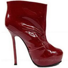Yves Saint Laurent Tribute Boots Wine Red Patent