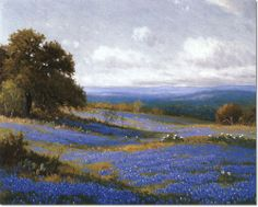 Porfirio Salinas - Texas Bluebonnets Painting Watercolor Landscape, Landscape Art, Landscape Paintings, Landscapes, Landscape Pictures, Country Paintings, Paintings I Love, My Art Studio, Western Art