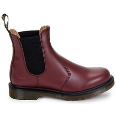 Red leather chelsea boots by @DRMARTENS new collection with free delivery