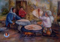 لوحة بريشة الفنان علي ترحيني -الخبز المرموق - Drawn by Mr. Ali Tarhini