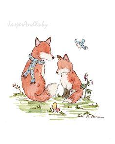 Fox Art Print- Woodland Nursery Art- Little Fox Friends